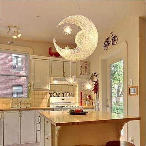 Goeco Mond Sterne Moderne Kronleuchter Aluminium Kurze Pendelleuchte Für  Mädchen Zimmer, Balkon, Schlafzimmer,