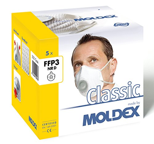 Mask Ffp3 (Moldex 2555 55 Klassiker FFP3 NR D with Air Valve Respiratory Mask (5 Piece))