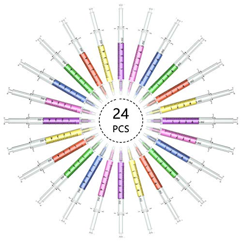 Jiulyning 24pcs Syringe Highlighter Pens with 6 Colors