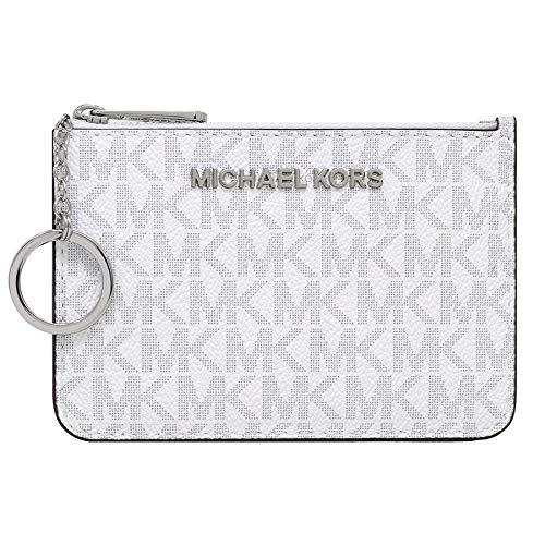 Michael Kors Jet Set Travel Small Top Zip Signature Coin Pouch ID Card Case (White PVC/Grey)