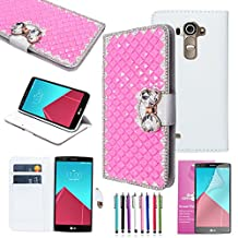 EpicGadget(TM) Extreme Deluxe Bling Pink Diamante Bow Bowknot White Leather Case Cover For LG G4 + HD Clear LG G4 Screen Protector AND 1 x Random Color Stylus (US Seller!!)