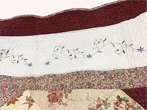 Cozy Line Home Fashions Floral Real Patchwork Burgundy Red Coral Pink Country, 100% COTTON Quilt Bedding Set, Reversible Coverlet Bedspread, Scalloped Edge,Gifts for Women (Georgia, Twin - 2 piece) by Cozy Line Home Fashions (Image #2)