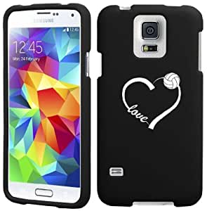 Samsung Galaxy S5 Mini Snap On 2 Piece Rubber Hard Case Cover Love Heart Volleyball (Black)