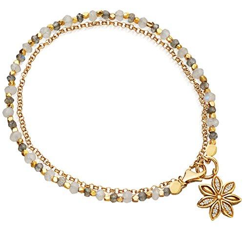 CHoppyWAVE Bracelets Women Vintage Bohemia Double Layer Beads Flower Charm Bracelet Bangle Jewelry - White (White Gold Jade Bangles)