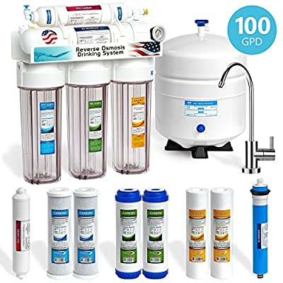 Express Water 5 Stage Under Sink Reverse Osmosis Filtration System 100 GPD RO Membrane Modern Faucet Clear Housings Pressure Gauge - Ultra Safe Residential Water Purification - Extra Set of 4 Filters