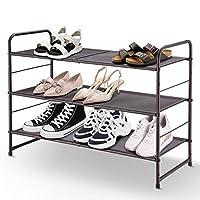 Simple Trending 3-Tier Stackable Shoe Rack, Expandable & Adjustable Shoe Shelf Storage Organizer, Metal Mesh,