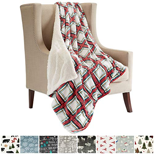 (Great Bay Home Super Soft Fleece Sherpa Holiday Throw Blanket - Cozy, Warm Red Holiday Plaid Design Blanket. Eve Collection (50