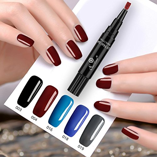 One Step Gel Nail Polish Pen, No Base Top Coat Need, Saviland 3 in 1 Soak Off UV LED Nail Varnish Nail Art Kit (Black blue gray red)