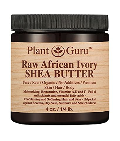 African Shea Butter Raw Unrefined 100% Pure Natural Organic Ivory Grade A - 4 oz - DIY Body Butters, Lotion, Cream, lip Balm & Soap Making Supplies, Eczema & Psoriasis Aid, Stretch Mark - African Shea Butter Shampoo