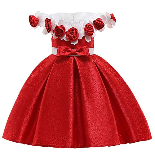 Kids Dresses Princess Dress Summer Evening Party Dresses Flower Girls Wedding Dress,Red1,10 -