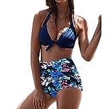 Hengshikeji-Women Swimsuits Two Piece Retro Print Padded Cutout Push Up Knot Front Tropical Bikini Set High Waist Swimwear