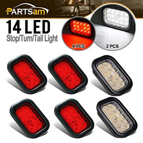 Partsam 4x Red+2x White 5x3 inch Rectangular Sealed Stop Turn Tail Brake Reverse Backup Fog 14 LED Clearance Marker Lights Lamps Flush Rubber Mount Waterproof