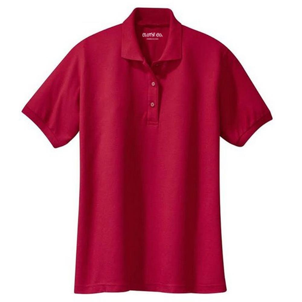 Clothe Co. Ladies Short Sleeve Polo Shirt, Red, XL