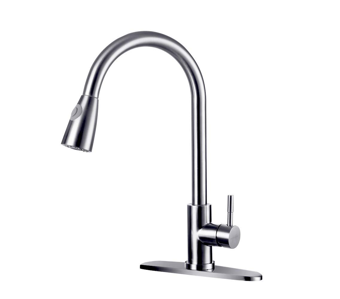 WONDERLAND AMERICA Brushed Nickel Kitchen Faucet, Single Handle High Arc Pull out Single Level 304 Stainless Steel Kitchen Sink Faucets with Pull down Sprayer and deck plate for 1 or 3 holes