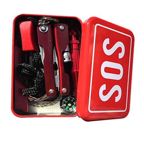 Survival Kits, haoun 6-In-1 SOS Notfall Box Outdoor Survival Kits Taschenlampe Zangen + Multifunktionswerkzeug Karte + Drahtsäge + Whistle Fire Starter + Kompass - Zufällige Lieferung