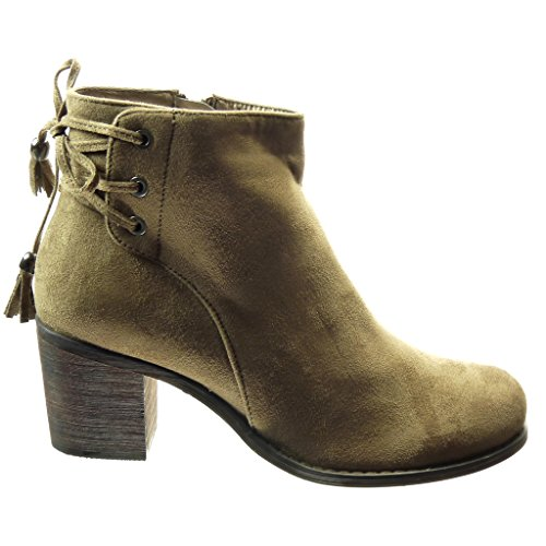 Angkorly - Chaussure Mode Bottine low boots femme lacets pom-pom frange Talon bloc 6.5 CM - Khaki