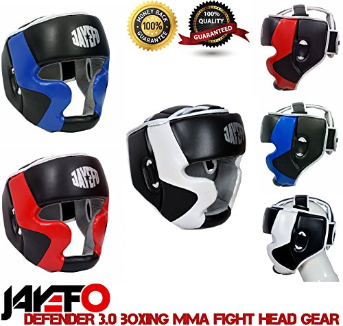 Jayefo Head Guard Boxing MMA (RED/Black, S/M)