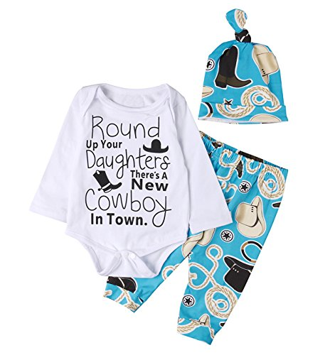Newborn Baby Boys Funny Bodysuits with Leggings Caps 3pcs Outfit Clothes (0-3M, blue)