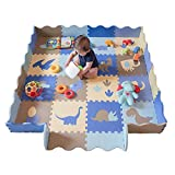 """little dove Baby Floor Mat Interlocking Play Mats for Infant Tummy Time Kids Padded Play mats Non Toxic Thick Floor Mat with Fence Dinosaur Pattern (75"""" x 45"""""""