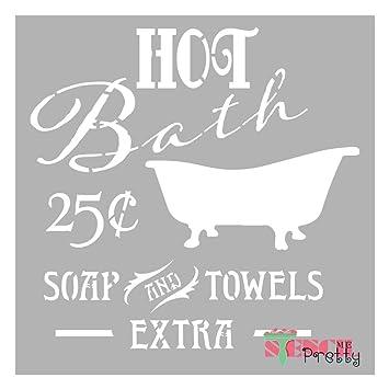 Amazon.com: Plantilla de baño caliente vintage DIY antiguo ...