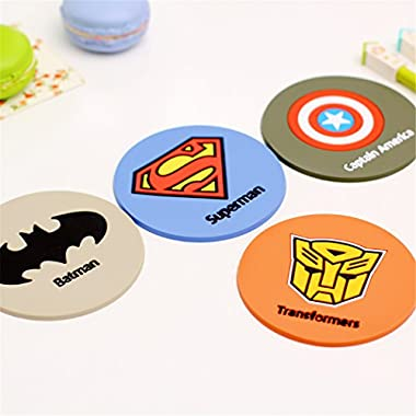 Yunko Set of 4 Superman Batman Hero Silicone Coaster Cup Mat Drink Placemat- Best Housewarming Beverage, Drink, Beer, Bar Woven Absorbent - Home House Kitchen Decor - Wedding Registry Gift Idea