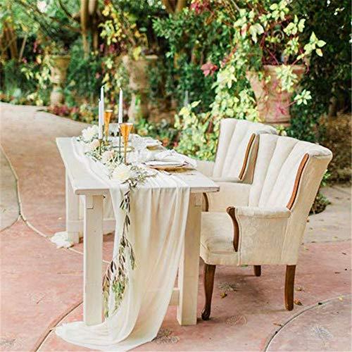 Elegant table runner 20 PCS 27x120 Inches Ivory Chiffon wedding Table Runner linen table for birthday - Ivory Chiffon Overlay