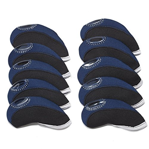 Carvesky Golf Head Covers, Wedge Neoprene Headcovers Protective for All Golf Club Iron, 10pcs/set (Back+Deep Blue) (Set Iron Back)