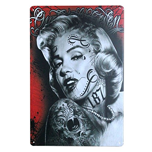 metal Signs PLUMTALL Marilyn Monroe Vintage Retro Wall Decorative Marilyn Monroe Posters for Home Bar Pub Cafe(8 x 12 inches)