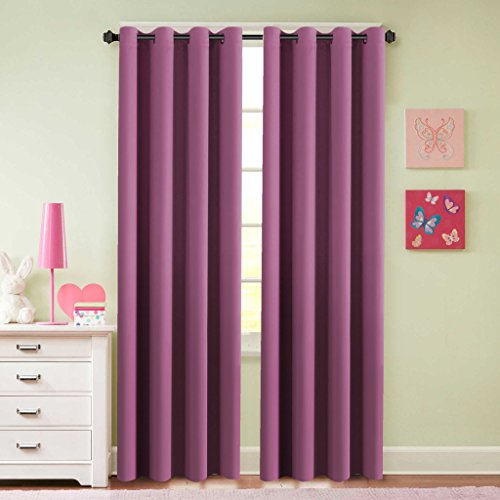 H.Versailtex Blackout Room Darkening Curtains for Girls Room,Grommet Window Drapes – 2 Panels – 52 x 84 inches Long, Fuchsia Pink