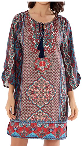 Sleeves 2 Women's Round Print Neck Casual Dress 3 Jaycargogo Ethnic Loose 4 aw4Uz
