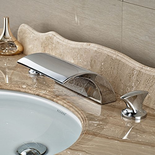 bluee U-Enjoy New Dual Handle Top Quality Waterfall Bathtub Mixer Faucet Set Deck Mount Bathroom Tub Sink Faucet Chrome Finish (Light Grey)