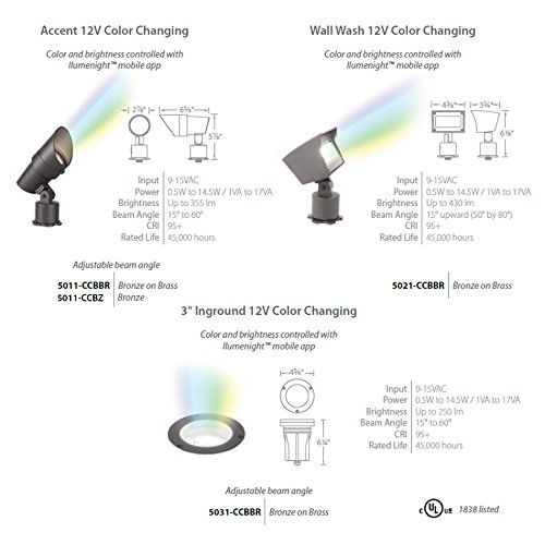 WAC Lighting 5021-CCBBR LED 12V Ilumenight Color Changing Flood LightBronzed Brass by WAC Lighting