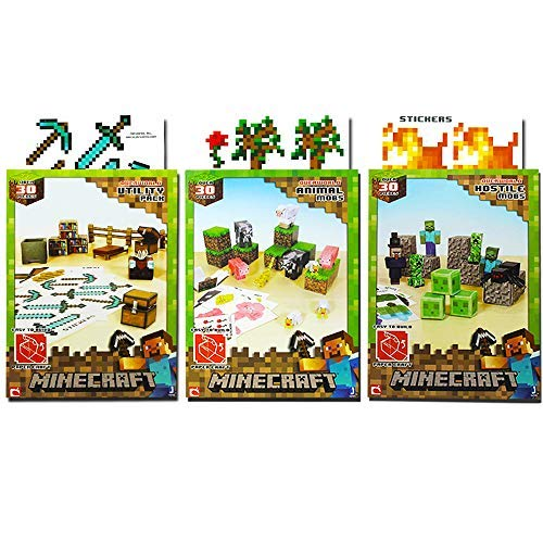 Minecraft Papercraft Overworld Collection -- 3 Sets, Over 90 Pieces Total (Includes: Animal Mobs, Hostile Mobs, Utility Pack) Crafts, Party Supplies