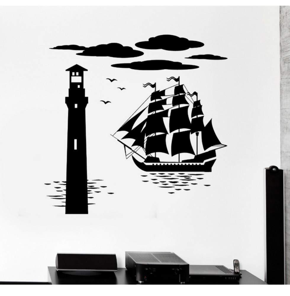 Vinilo creativo Tatuajes de Pared Faro Faro Mar Náutico Marino ...