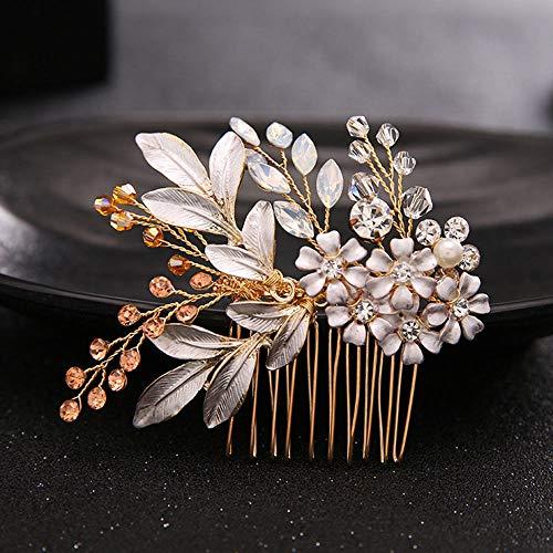 Wedding Party Rhinestone Bead Flower Hair Comb Clamp Hair Clips Bridal Hair Pins