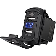 MICTUNING Universal Rocker Style Dual USB Car Charger (for iPhone 6 6S Plus Mobile Device, Blue LED Digital Display Voltmeter Monitor Battery Voltage(Blue))