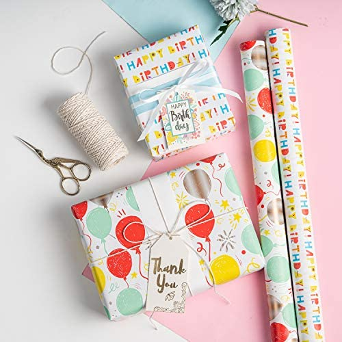 MAYPLUSS Wrapping Paper Roll - Mini Roll - 17.3 inch X 120 inch Per roll - 3 Different Birthday Print Design (43.2 squareft.ttl)