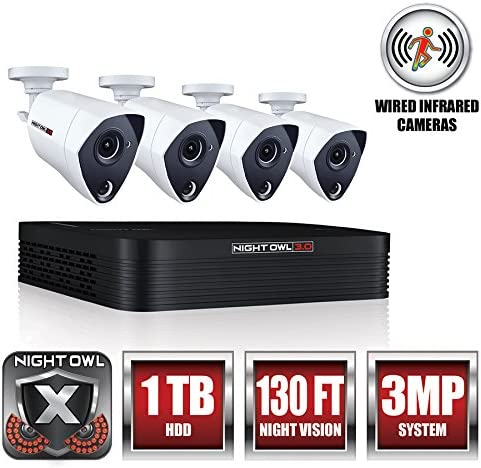 Night Owl 8-Channel 3MP Extreme HD 3.0 DVR 1TB, 4 3MP Wired Infrared Camera Security System