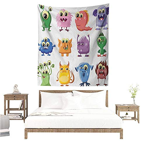 Funny Tapestry for Living Room Animated Bacteria Aliens Theme Germ Whimsical Cartoon Monsters Humor Faces Graphic Literary Small Fresh 60W x 91L INCH Multicolor (Animated Ying Yang)