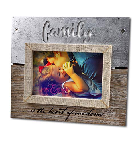 Spiretro 4 x 6 inch Sentiments Memorial Family Picture Frame with Plexiglass, Engraved & Linen Wrapped Wood Frame, Tabletop Display by Easel, Wall Hang Decor, Metallic Silver & Rustic Grey Photo Frame (Rustic Family Picture Frames)
