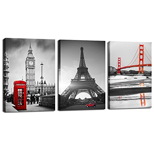 Live Art Decor - Canvas Prints Famous Building Wall Art Decor 3 Panels Modern Picture Print on Canvas Giclee Art Work Golden Gate Bridge Eiffel Tower and Tower of London Framed - 48