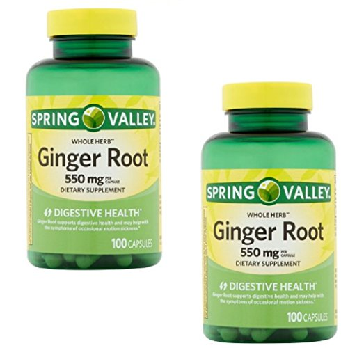 Pack of 2 - Spring Valley Whole Herb Ginger Root Capsules, 550 mg, 100 (Herbs 550 Mg 100 Capsules)