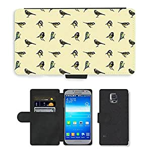 PU LEATHER case coque housse smartphone Flip bag Cover protection // M00153366 Las aves Tit Mosaico Patrón // Samsung Galaxy S5 S V SV i9600 (Not Fits S5 ACTIVE)