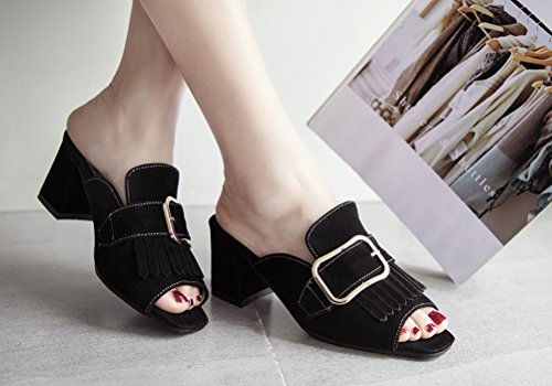 HiEase Women's Sweet Tassels Buckle Mules Slippers Elegant Square Toe Clogs Sandals with Block Heels Size 4-11 Black