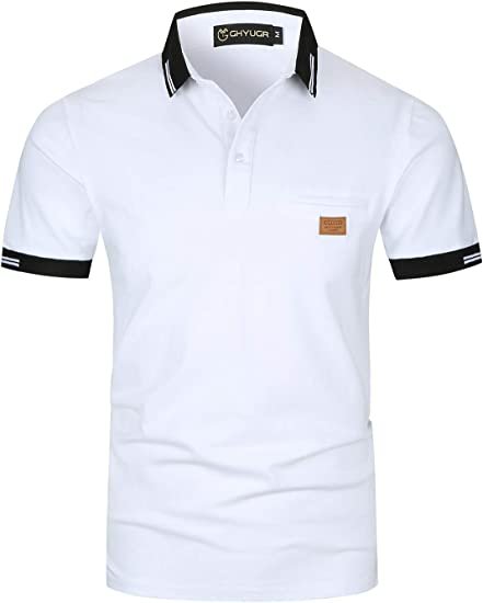 GHYUGR Polo Homme Manches Courtes Casual