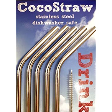 10 Reusable Straws - Stainless Steel Drinking - Set of 10 + Cleaner - Eco Friendly, SAFE, NON-TOXIC non-plastic