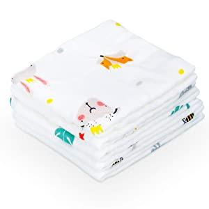 Baby Muslin Washcloths 5 Pack- 12x12 in 100% Cotton- 6 Layers Soft Towels, Absorbent and Natural Wash Cloths-Baby Wipes for Bath, Bibs and Hands, Face, Unisex (5 Pack Bamboo Animal)