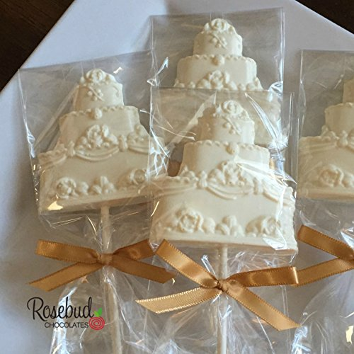Chocolate WEDDING CAKE Lollipops Candy Party Favors