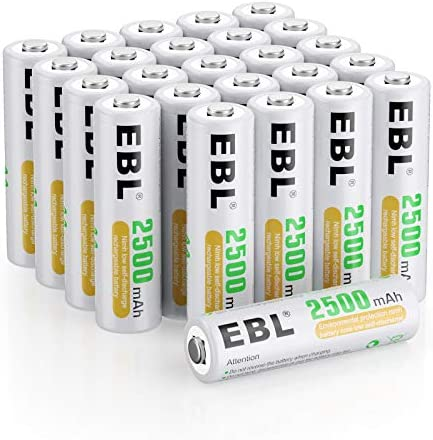 EBL AA Rechargeable Batteries 1.2V 2500mAh High Performance Pre-Charged AA Batteries - 24 Pack