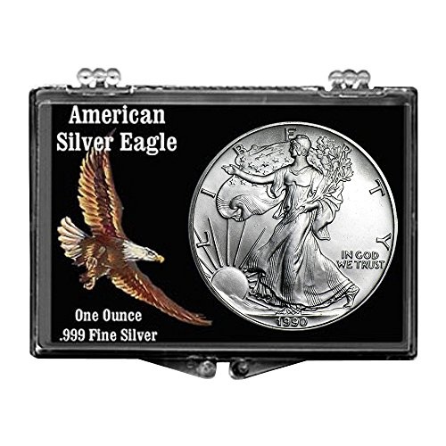 1990 Silver Eagle With Colored Eagle Snaplock Holder $1 Brilliant Uncirculated